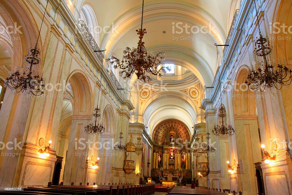 Inside Montevideo Metropolitan Cathedral interior, Uruguay stock photo