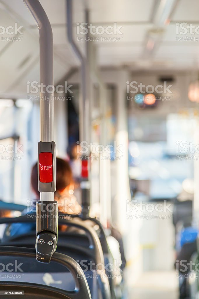 inside of a bus stock photo