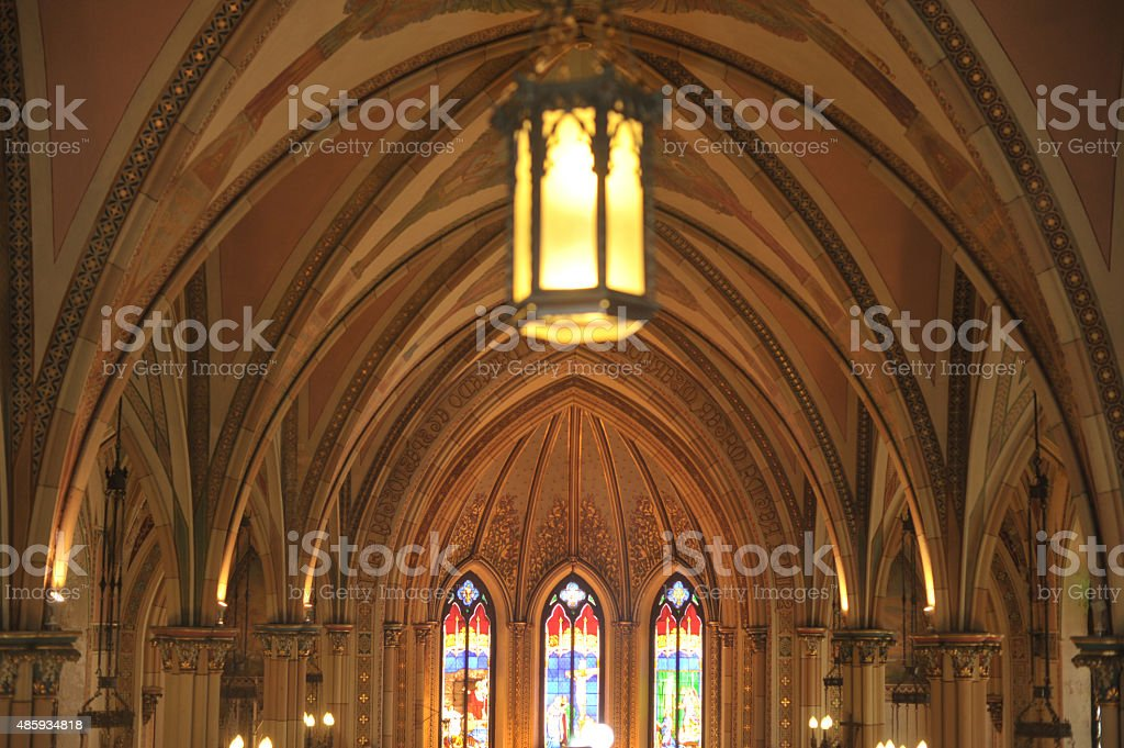 Inside of a church Catholic stock photo