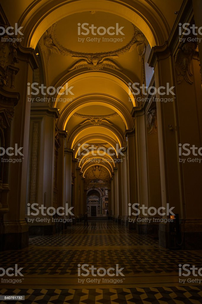 Inside of a church stock photo