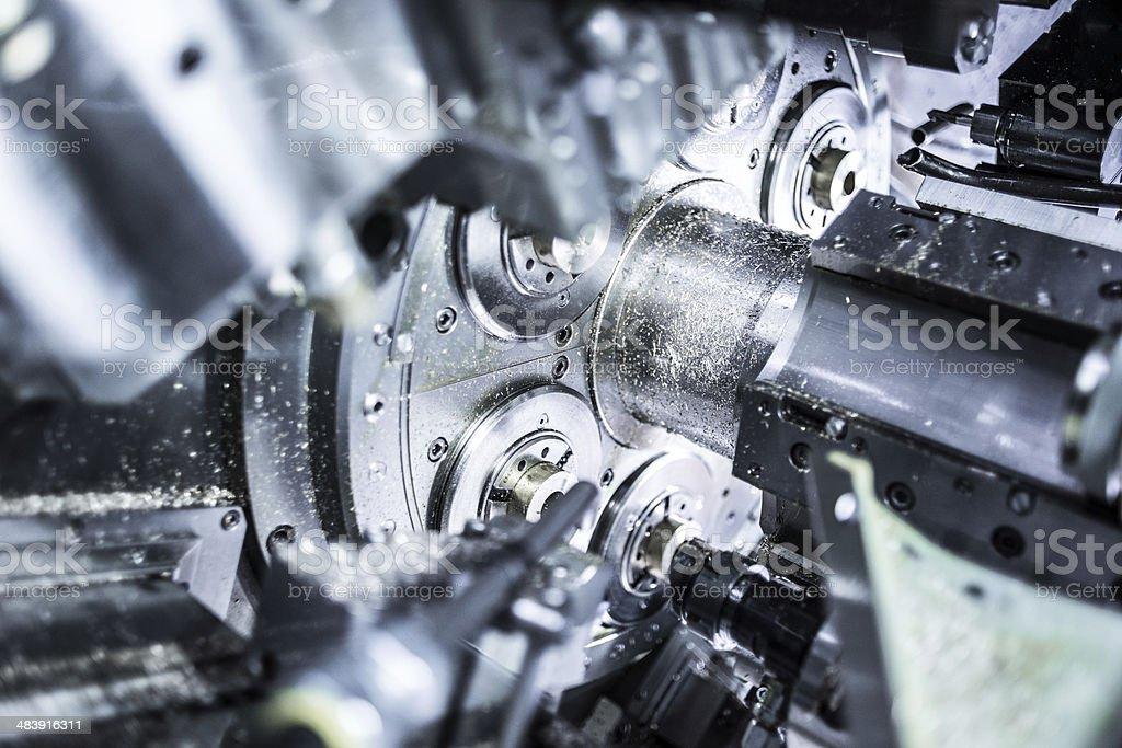 Inside of a CNC multi-spindle lathe machine stock photo