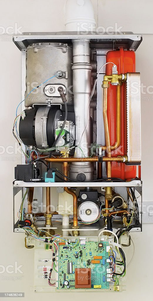 Inside of a combi boiler stock photo
