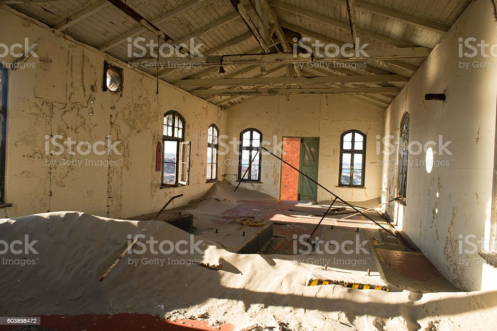 Inside of a delapitated building. stock photo