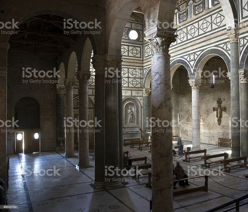 Inside of a florentine church royalty-free stock photo