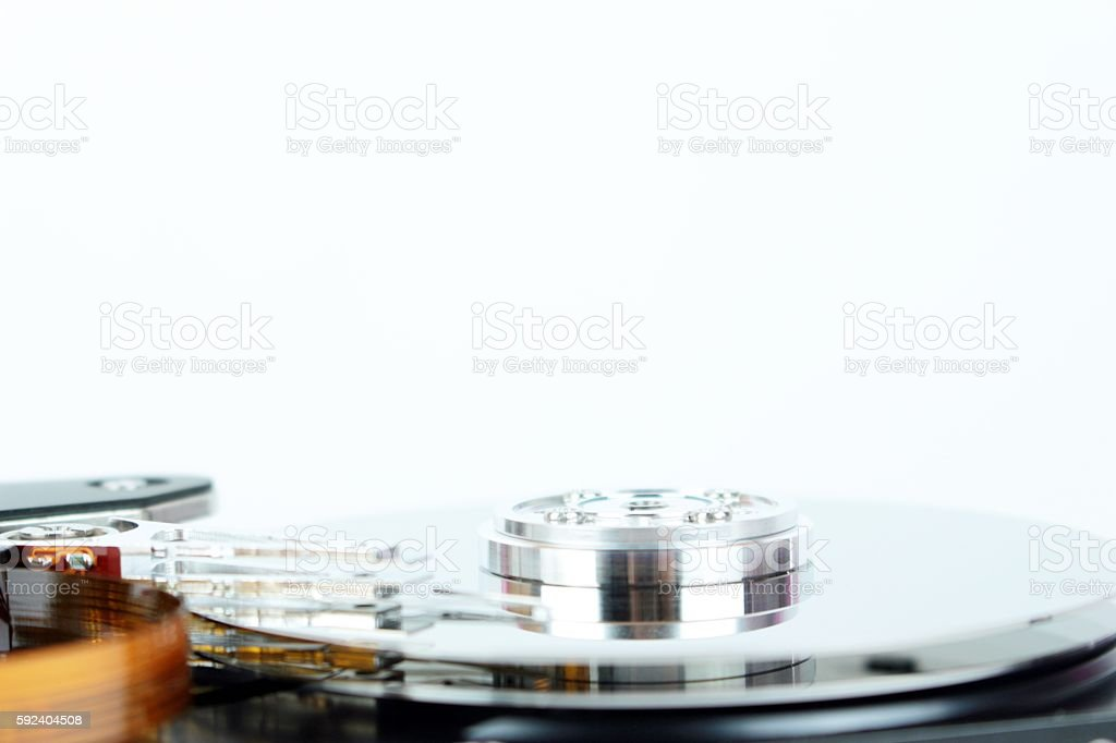 Inside of a hard disk of personal computer stock photo