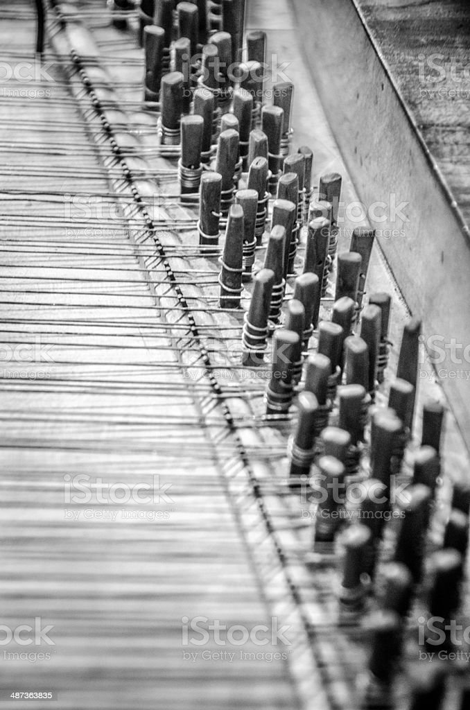 Inside of a Harpsichord stock photo