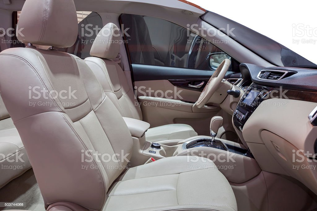Inside of a new car stock photo