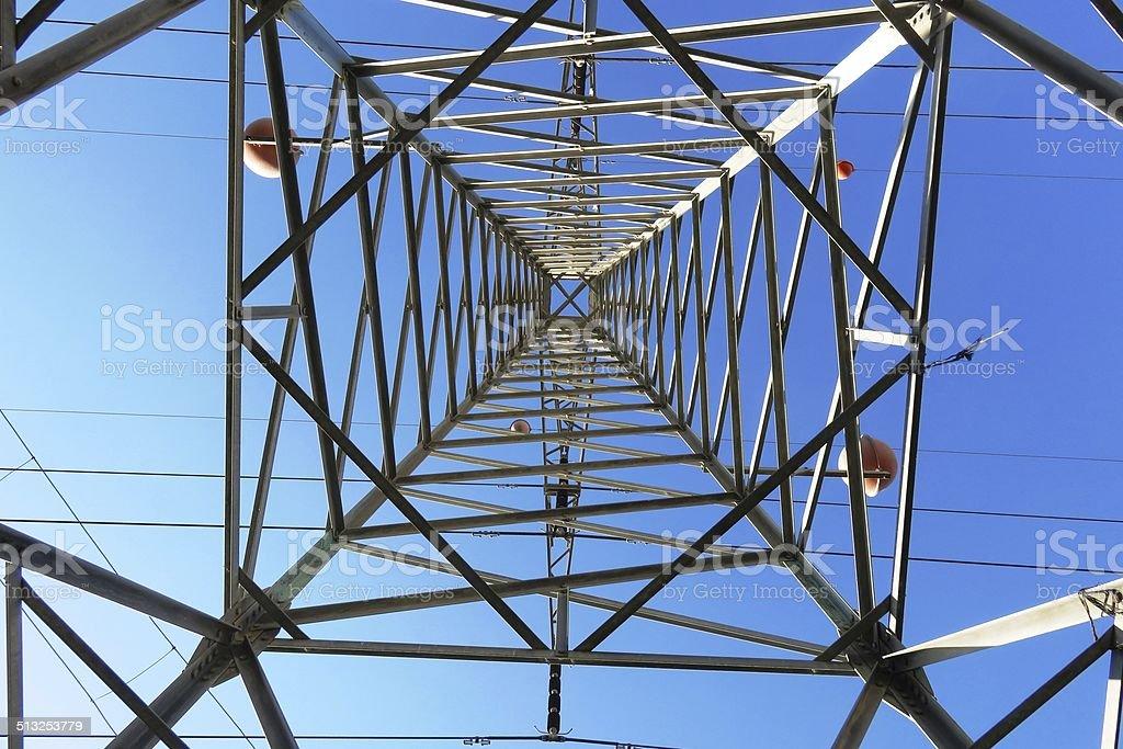 Inside of a power pylon stock photo