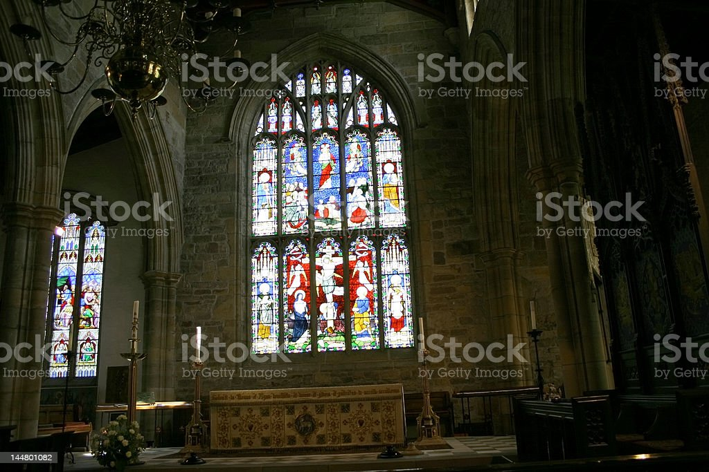 inside of a small chapel royalty-free stock photo