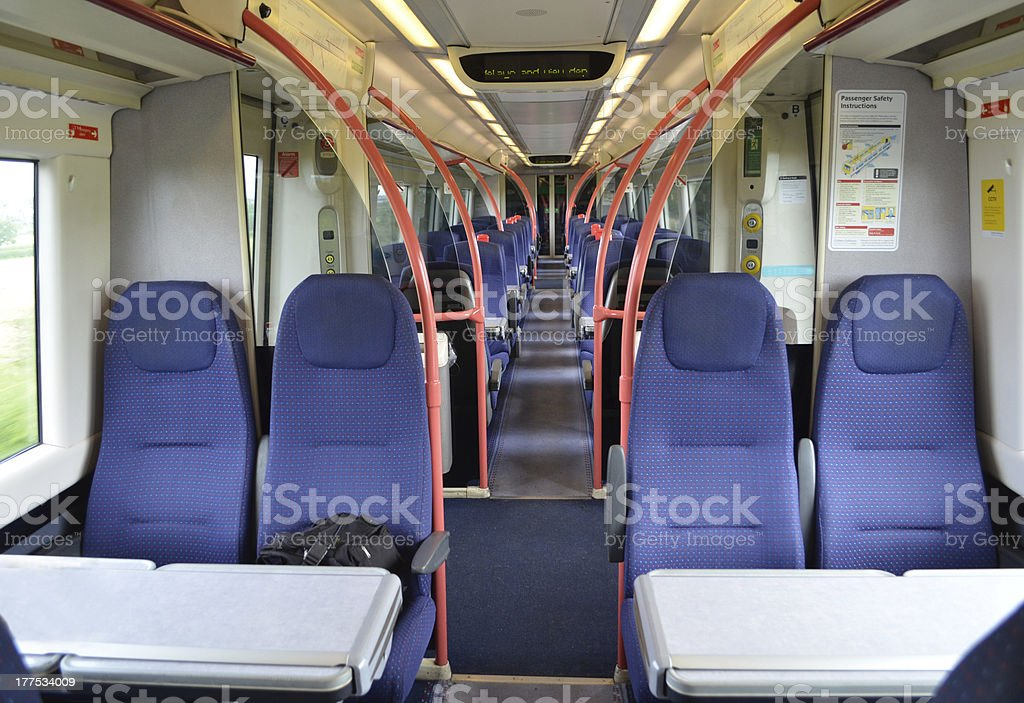 Inside of a train stock photo