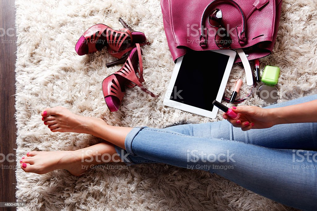 Inside of a woman's bag stock photo
