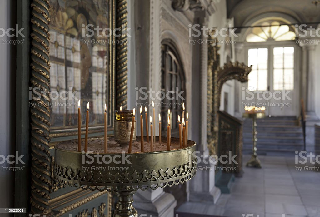 inside of Aghios Gheorghios Church royalty-free stock photo