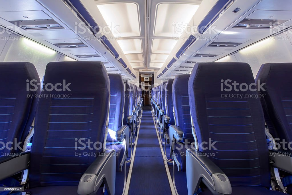 Inside Of Airplane / Aircraft stock photo
