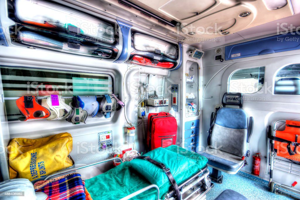 Inside of an ambulance in HDR stock photo