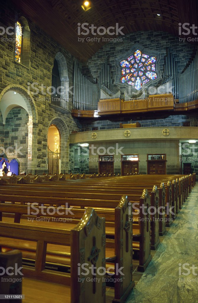 inside of an ancient cathedral in Galway royalty-free stock photo