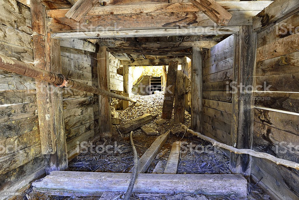 inside of an old abandoned gold mine in Colorado stock photo