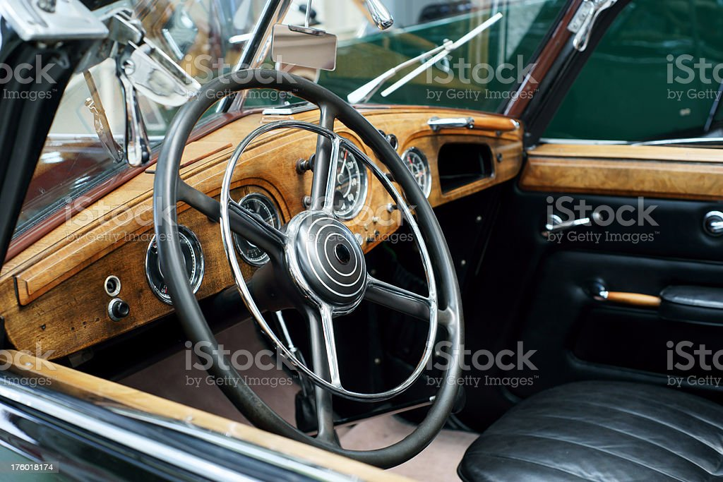 Inside of an old car stock photo