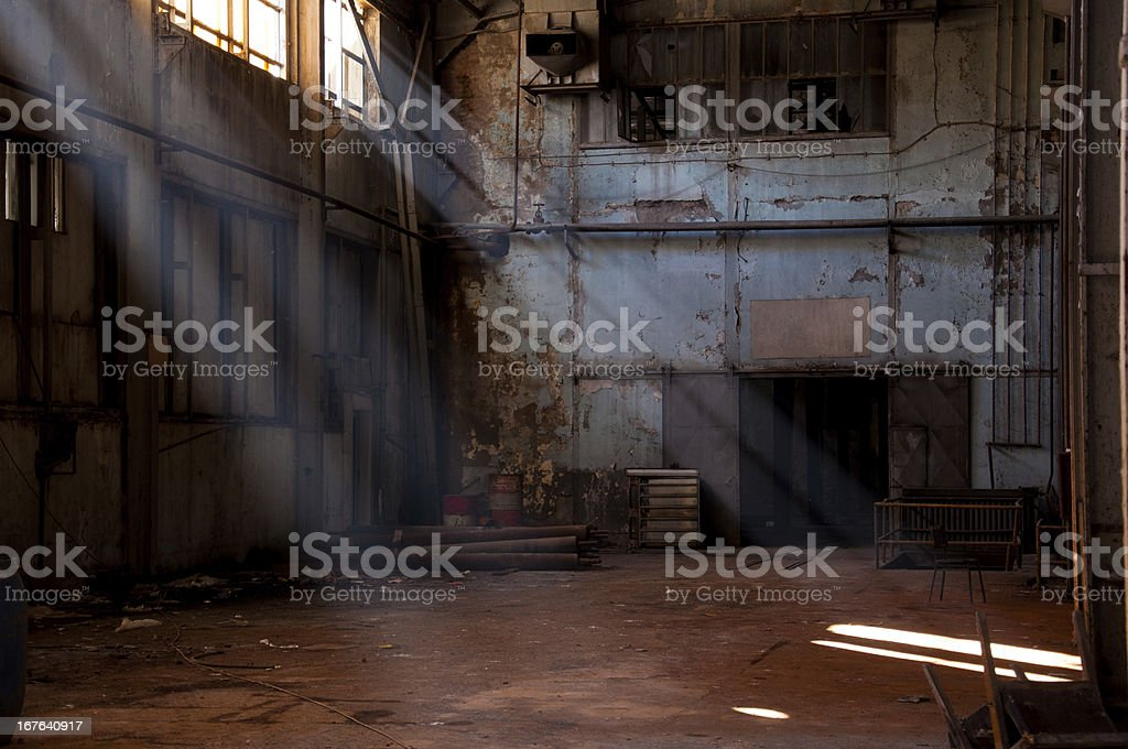 inside of an old plant stock photo