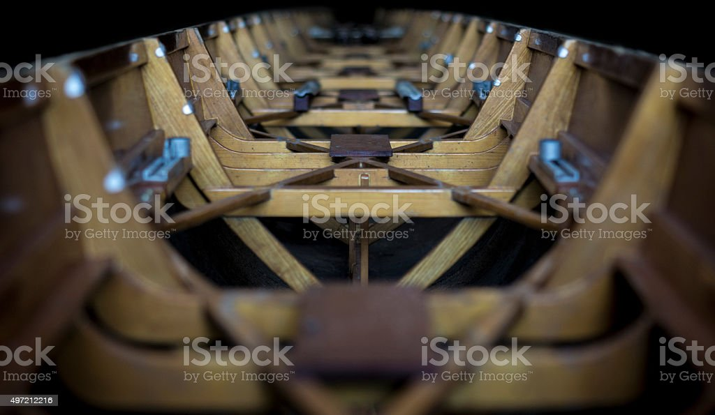Inside of an old rowing boat stock photo