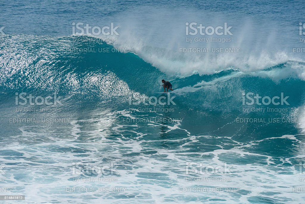 Inside of Big Breaking Wave stock photo