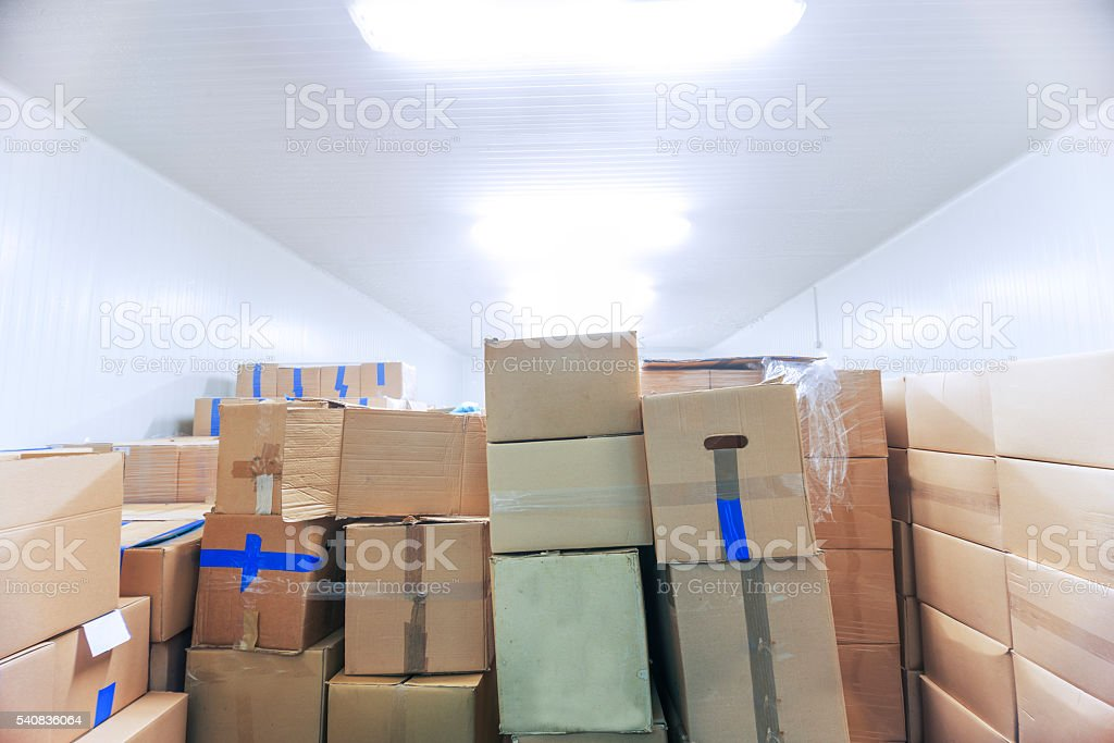 Inside of Big Industrial Refrigerator Storage at -30 Celcius stock photo