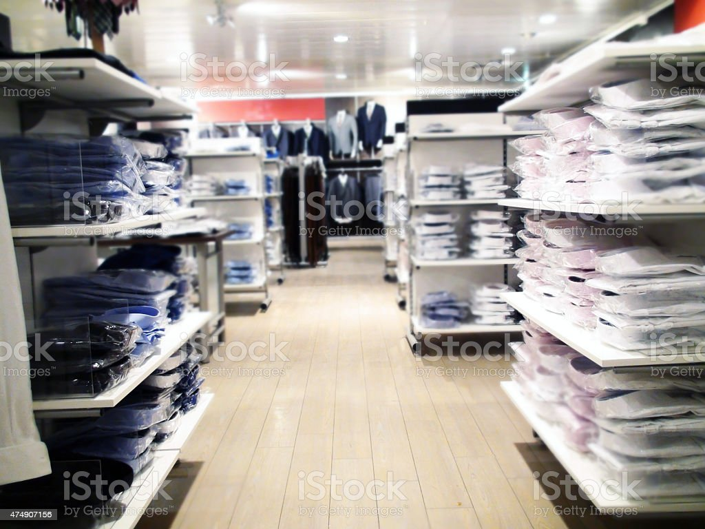 Inside Of Clothing Shop stock photo