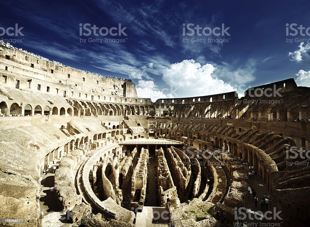 inside of Colosseum in Rome, Italy royalty-free stock photo