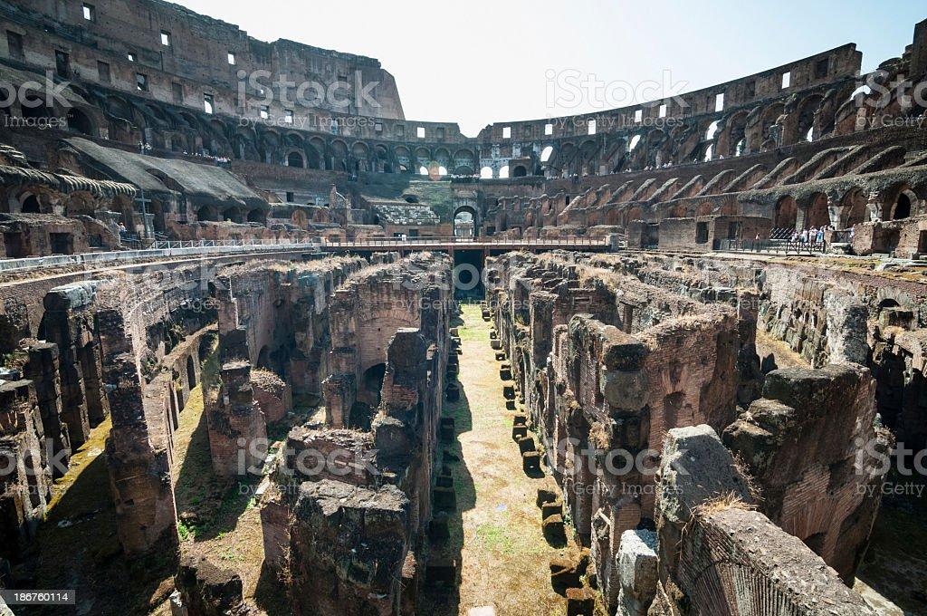Inside of Colosseum, Rome stock photo