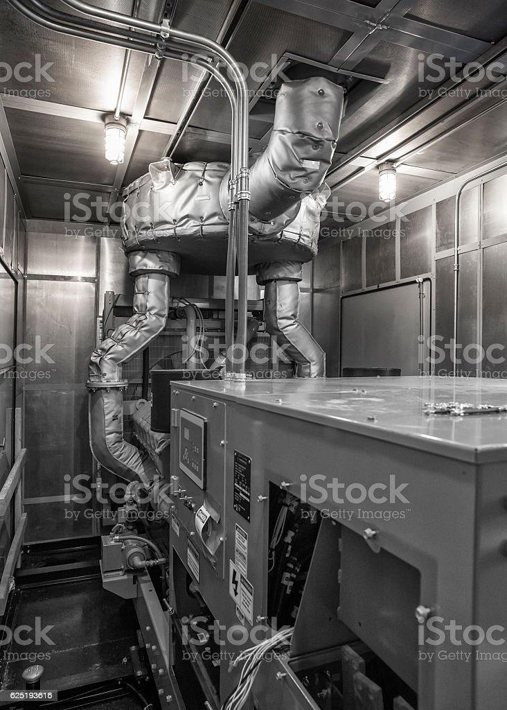 Inside of diesel generator weatherproof enclosure stock photo