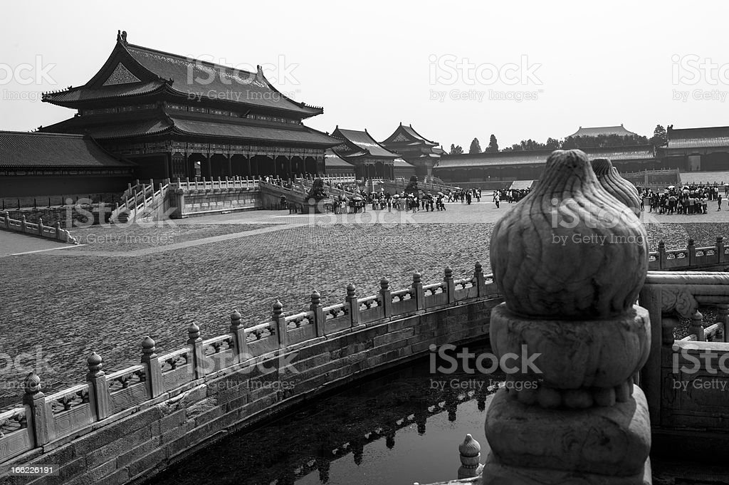 Inside of Forbidden City (B&W) royalty-free stock photo