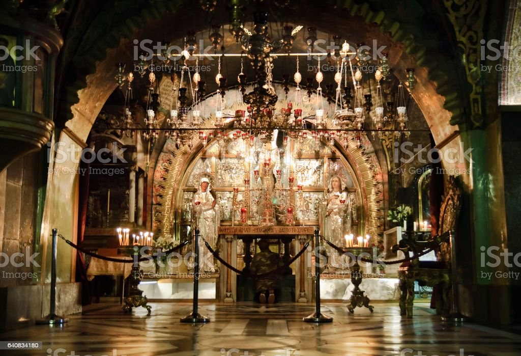 Inside of Golgotha in Jerusalem stock photo