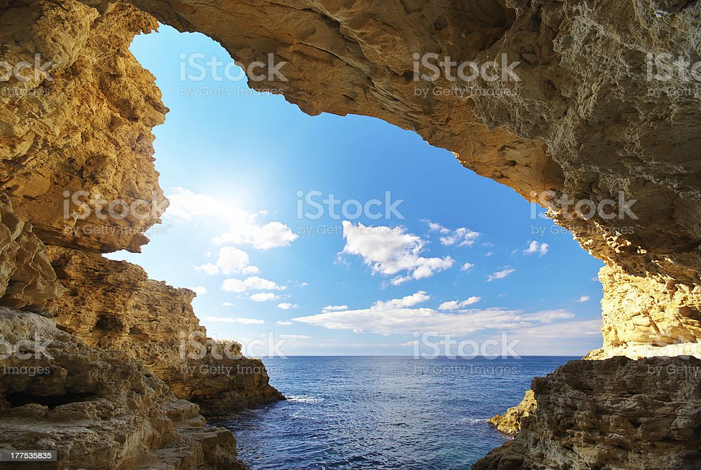 Inside of grotto. stock photo