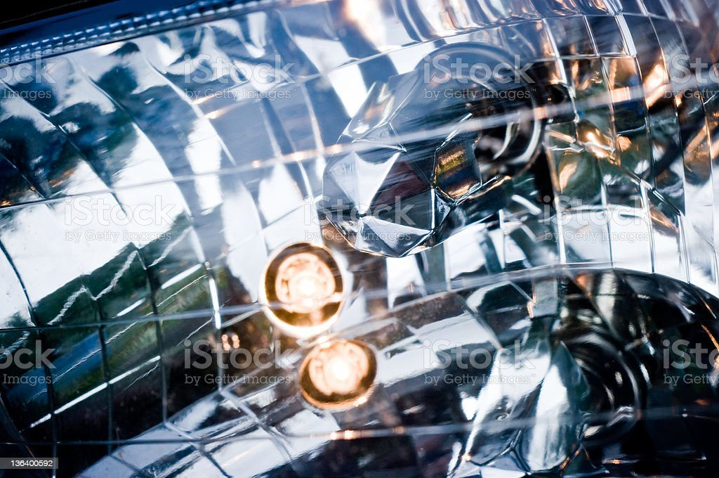 Inside of headlight with H4 bulb stock photo