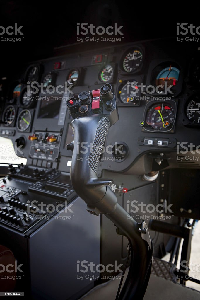 inside of helicopter cockpit stock photo