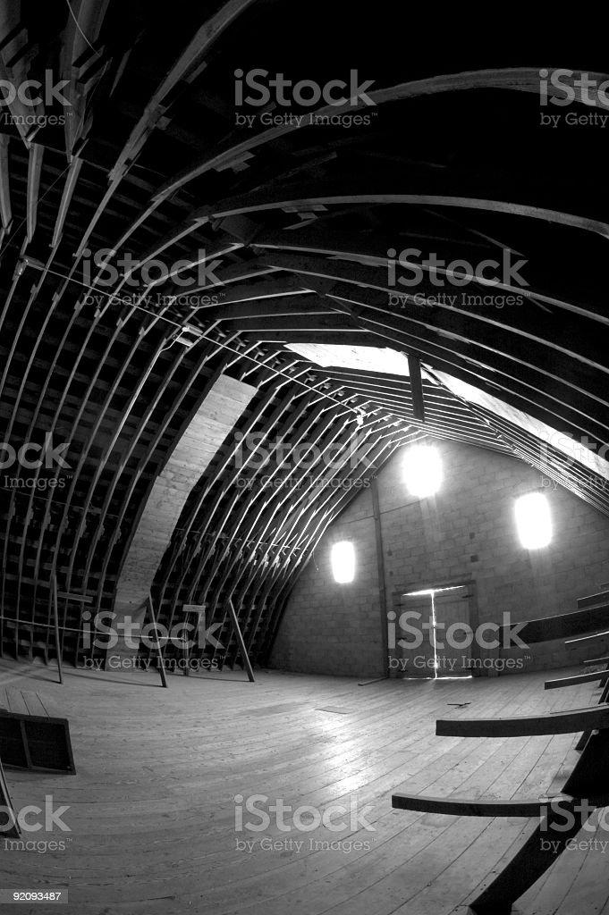 Inside of Large Barn stock photo