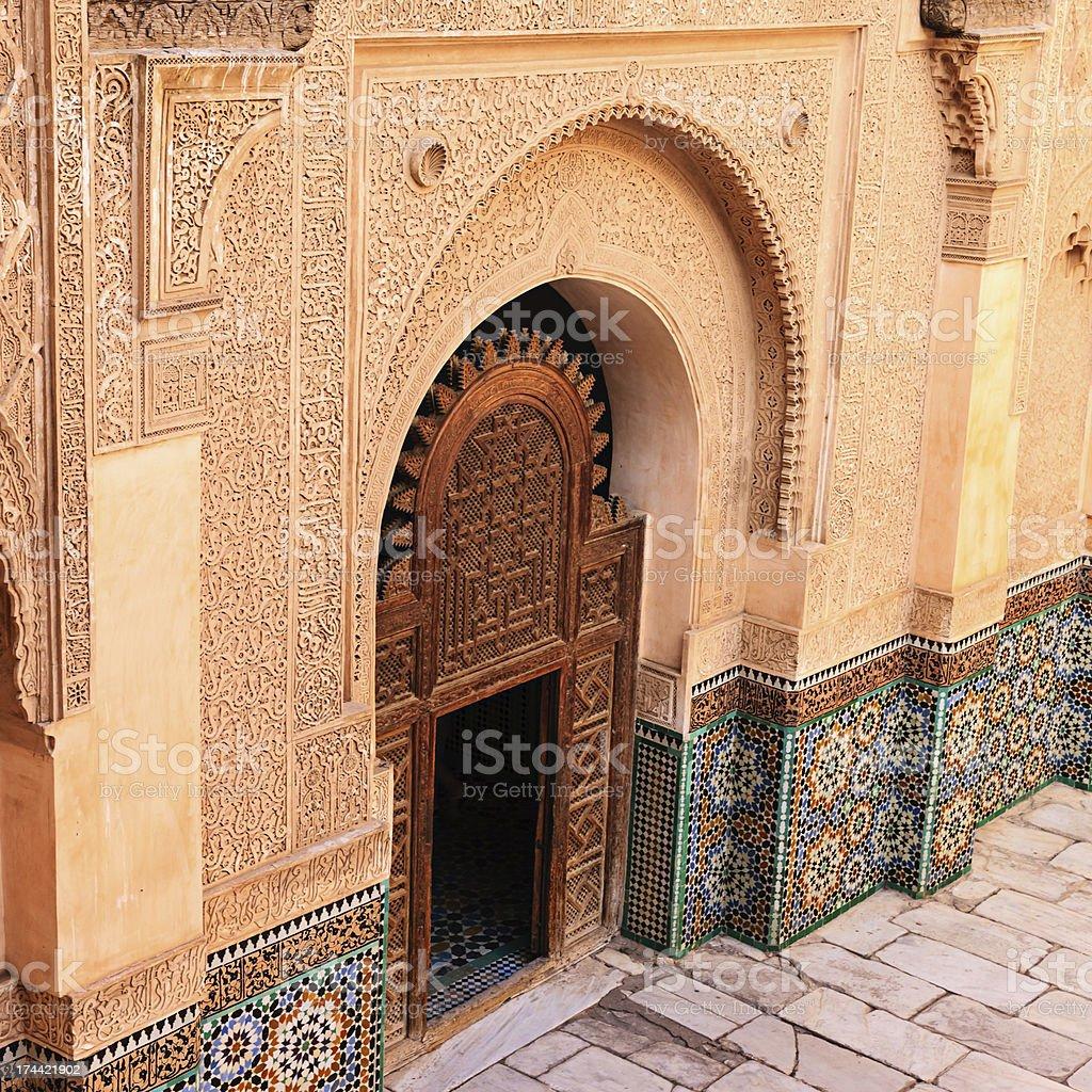 Inside of Madressa Ali Ben Youssef Marrakech Morocco stock photo