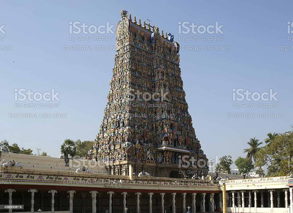 Inside of Meenakshi hindu temple in Madurai, India royalty-free stock photo