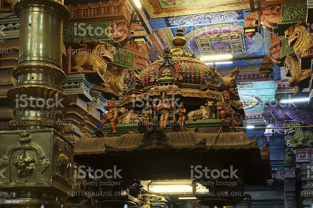 Inside of Meenakshi hindu temple in Madurai, India royalty-free stock photo