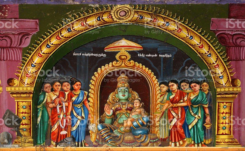 Inside of Meenakshi hindu temple in Madurai stock photo