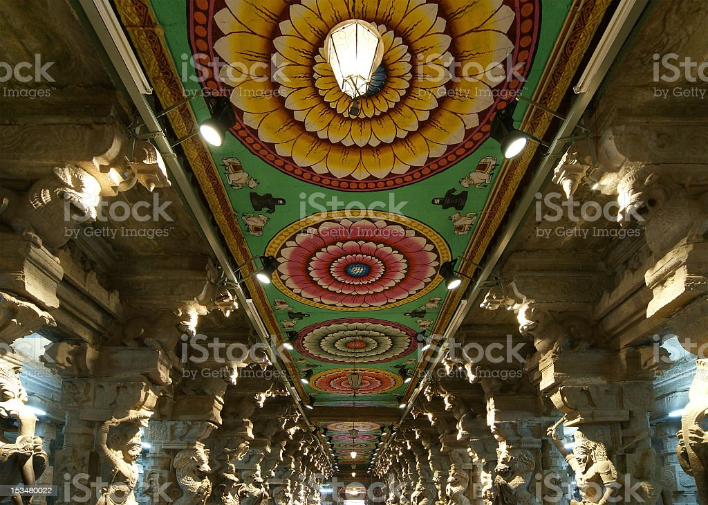 Inside of Meenakshi hindu temple in Madurai, Tamil Nadu royalty-free stock photo
