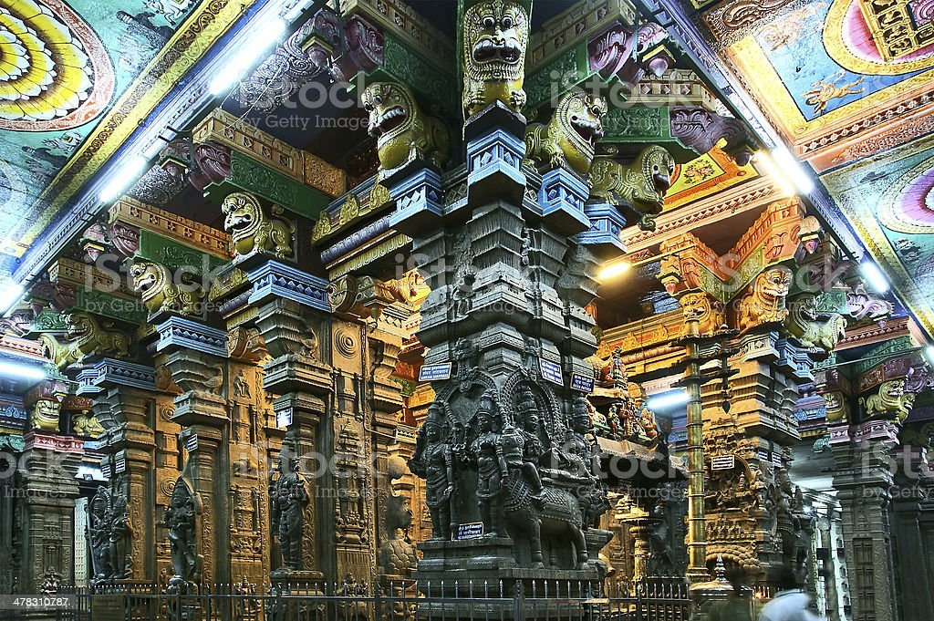 Inside of Meenakshi hindu temple. Madurai, Tamil Nadu, India stock photo