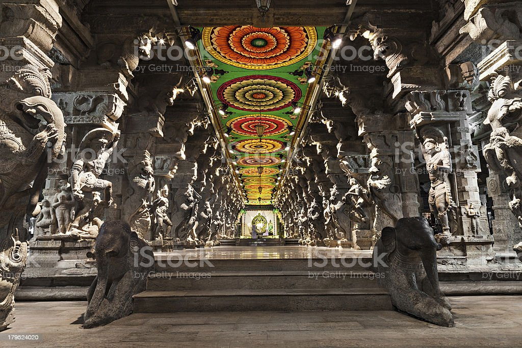 Inside of Meenakshi Temple stock photo