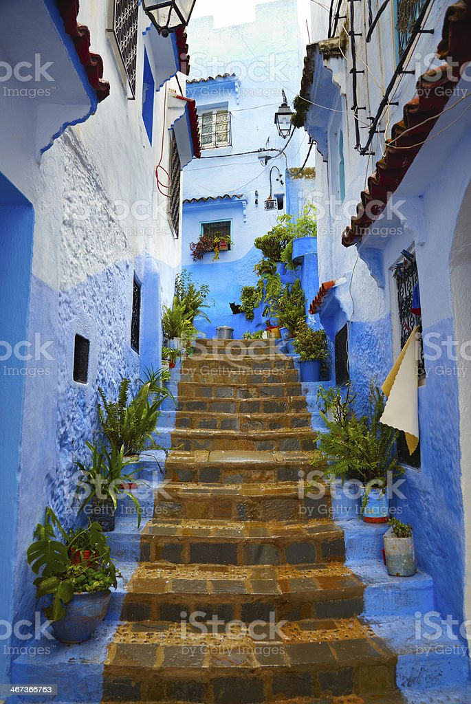 Inside of moroccan blue town Chefchaouen medina stock photo