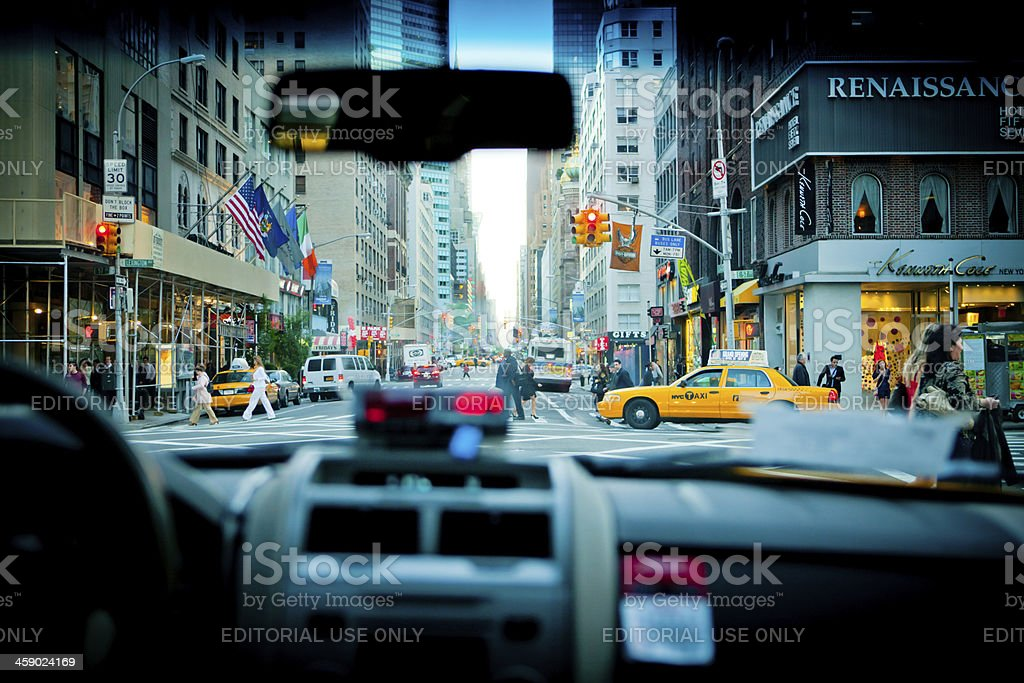 Inside of New York Yellow Taxi stock photo