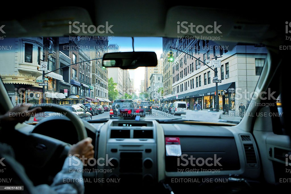 Inside of New York Yellow Taxi royalty-free stock photo