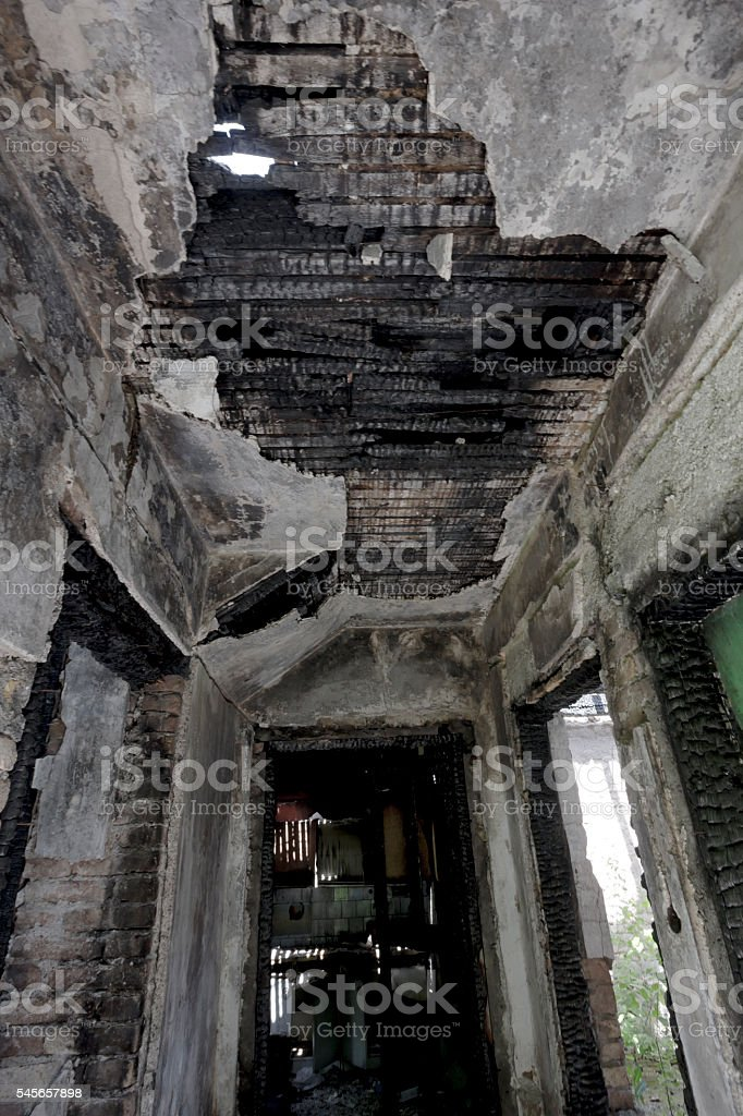 Inside of old, burned house stock photo