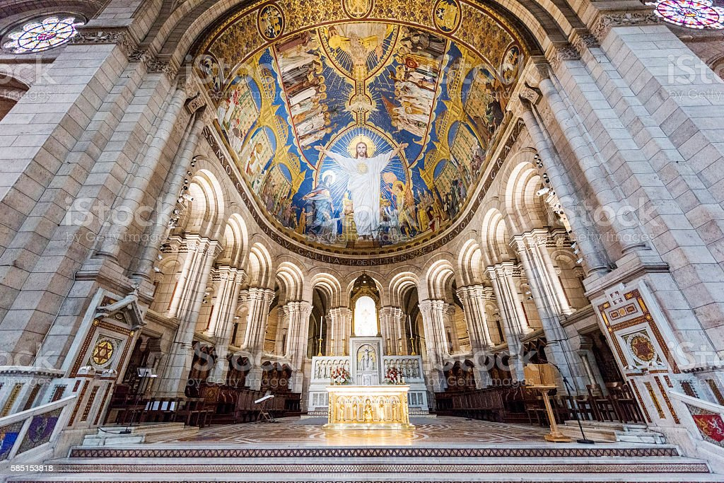 Inside of Sacre-Coeur Basilica in Paris, France stock photo