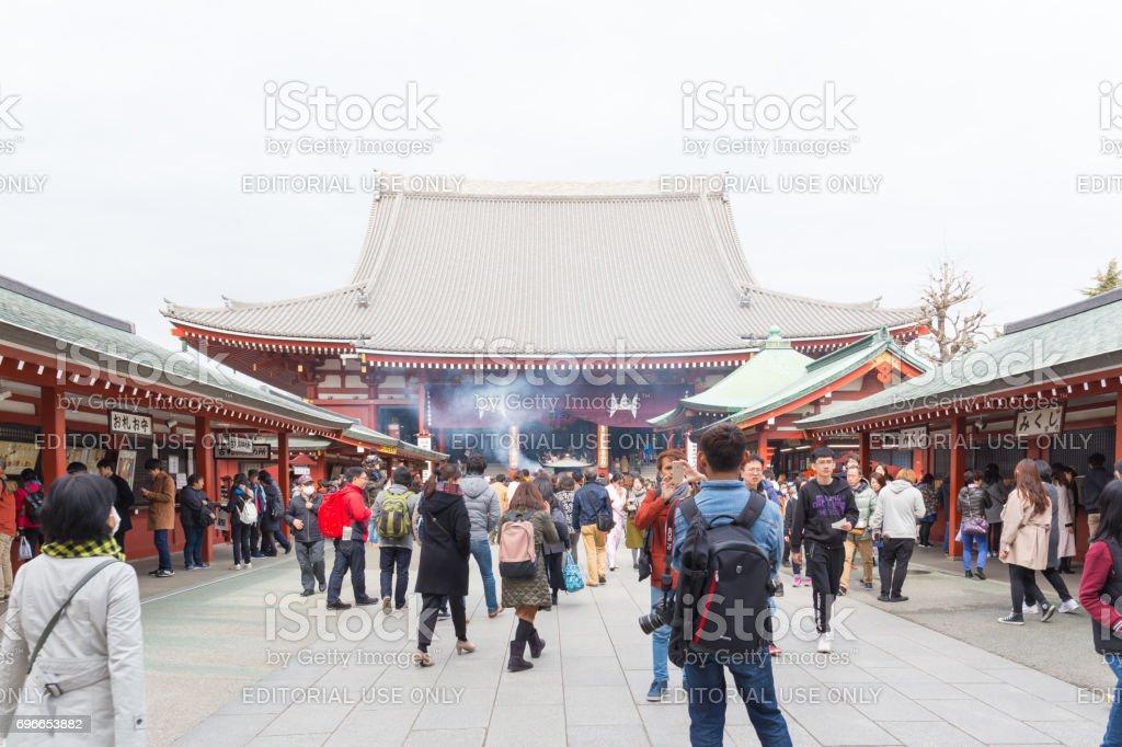 inside of Sensoji temple behind the Hozomon, Treasure house gate February 18, 2017 in Tokyo, Japan stock photo
