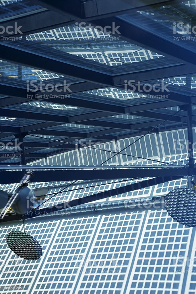 Inside of Solar Panel Operating on Roof royalty-free stock photo