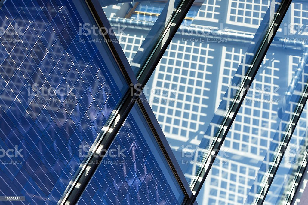 Inside of Solar Panel Operating on Roof stock photo